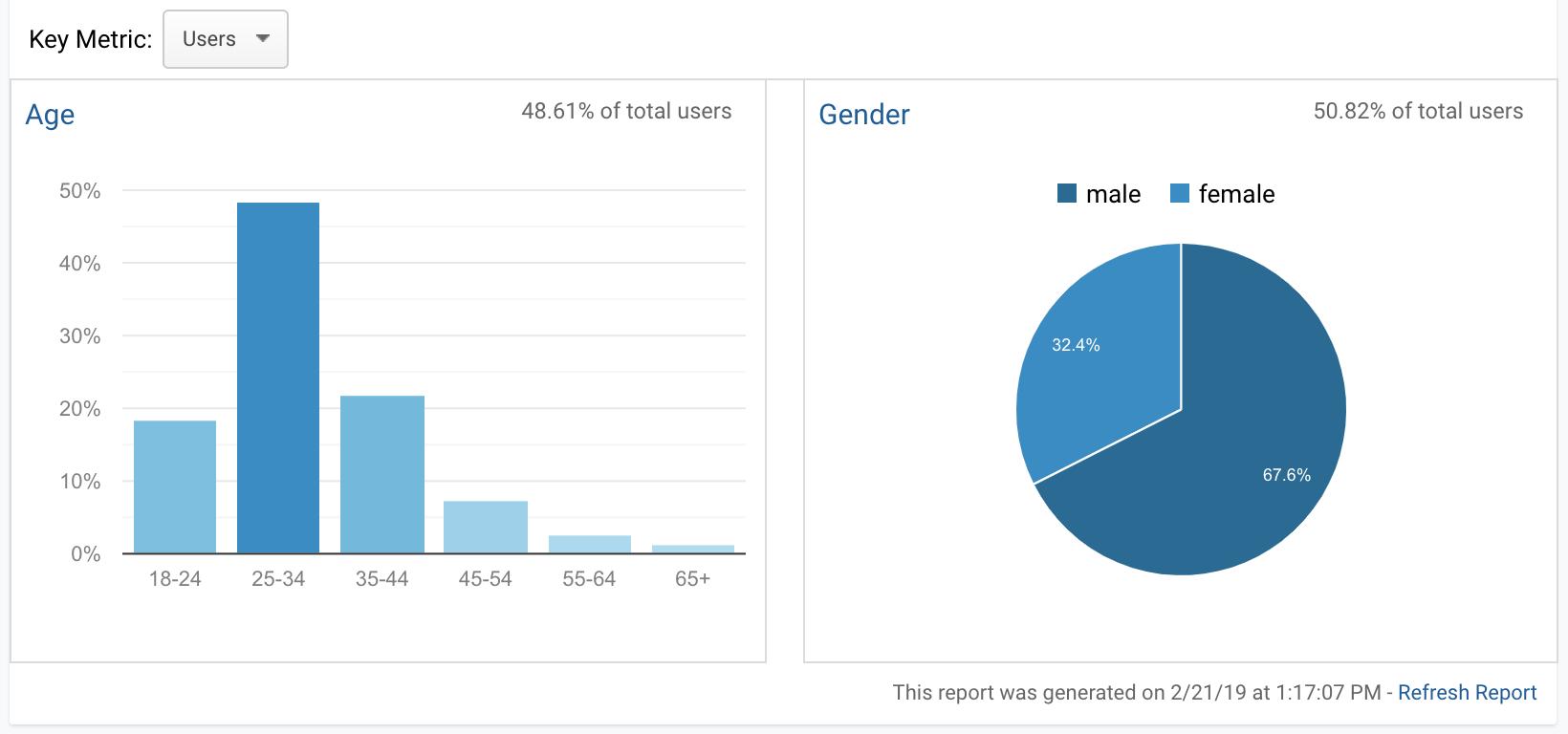 Google Analytics demographic data